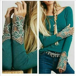 NWT. Free People Thermal with Lace Bell Sleeve. XS